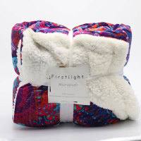 Firstlight Small Knit Plaid Flannel Fleece 2 Layers Manta Sherpa Blanket For Sofa High Quality 50