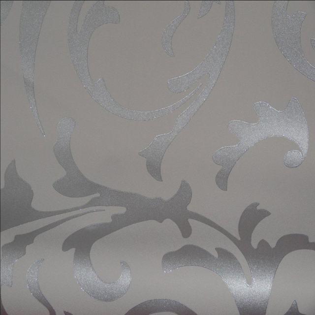 Online Shop QIHANG Sliver Gray Victorian Damask Embossed Textured