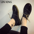 LIN KING New Women Flat Shoes Round Toe Thick Sole Solid Short Shoes Low Top PU Massage Outdoor Leisure Lace-up Single Shoes