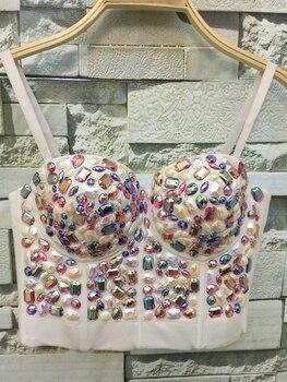 Neue Frauen Mode Farbe Strass Bead Perlen Bustier Push-Up Hochzeit Bralette Frauen Bh Gestellte Rohr Top