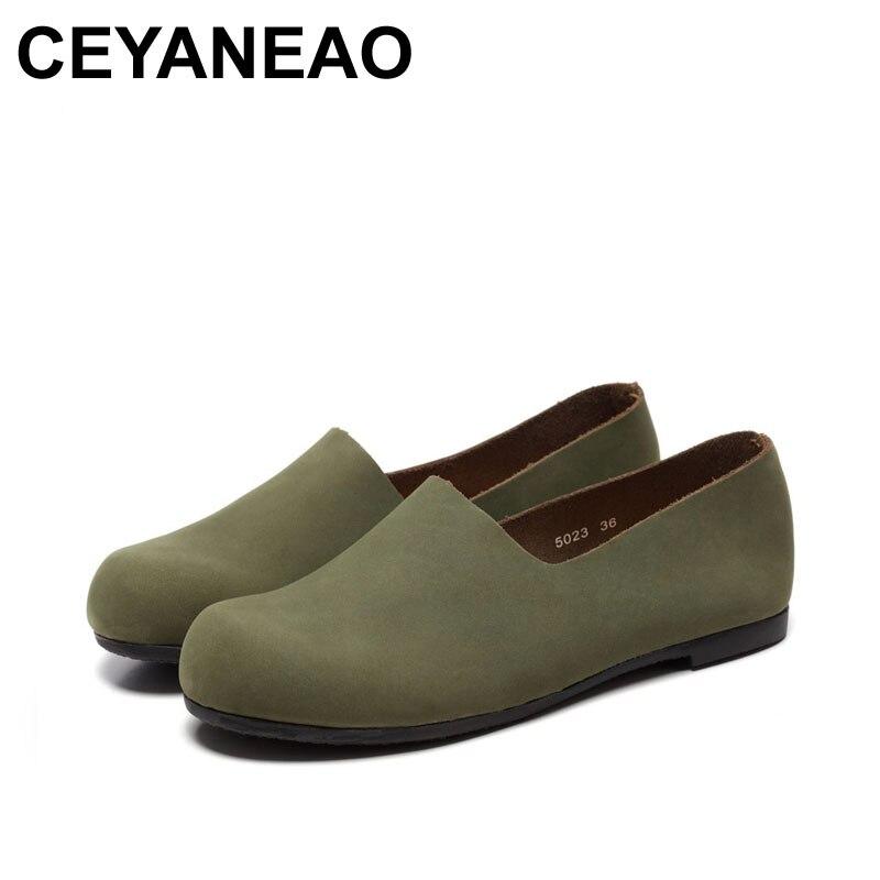 Femme Deux Main Femmes Ceyaneao Green 2018 khaki Chaussures 1 Cuir Rétro Dame En Façons Véritable Porter De Fait 5023 5xY1SYwqP
