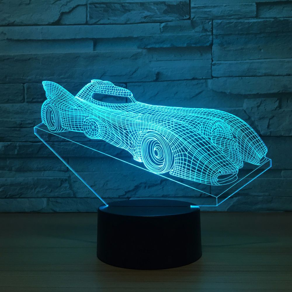 3D LED Illusion Racing Car Model Night Lamp USB LED 7 Colors Flashing Table Lamp as Novelty Gifts Lights & Room Decorations