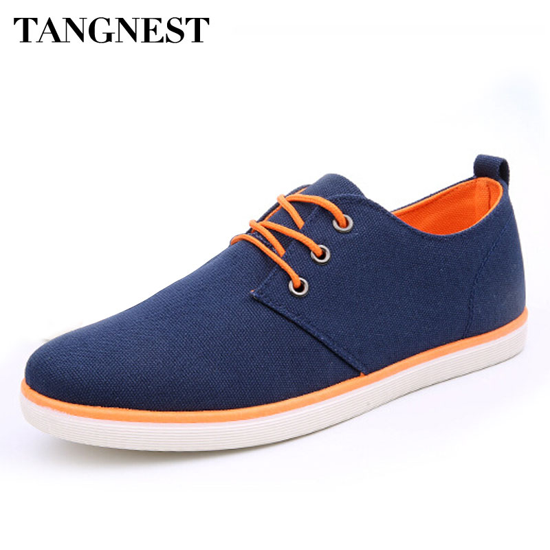 Tangnest New 2017 Canvas Shoes Man Spring Summer Solid Lace-up Casual Men's Flats Korean Style Breathable Shoes For Men XMR1906 tangnest men pu leather shoes 2017 british style men lace up casual shoes solid platform flats for male comfort shoes xmr2422