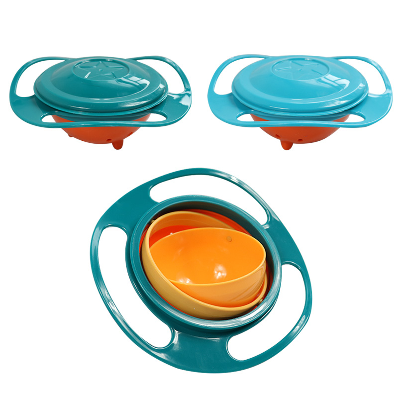 Hot Sale Design Universal Gyro Bowl Dishes Anti Spill Bowl Smooth 360 Degrees Rotation Gyroscopic Bowl For Baby Kids Newborn