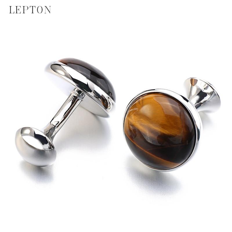 Butonët e rrathëve me gurë të ulët me luksoze Tiger-Eye për - Bizhuteri të modës - Foto 4