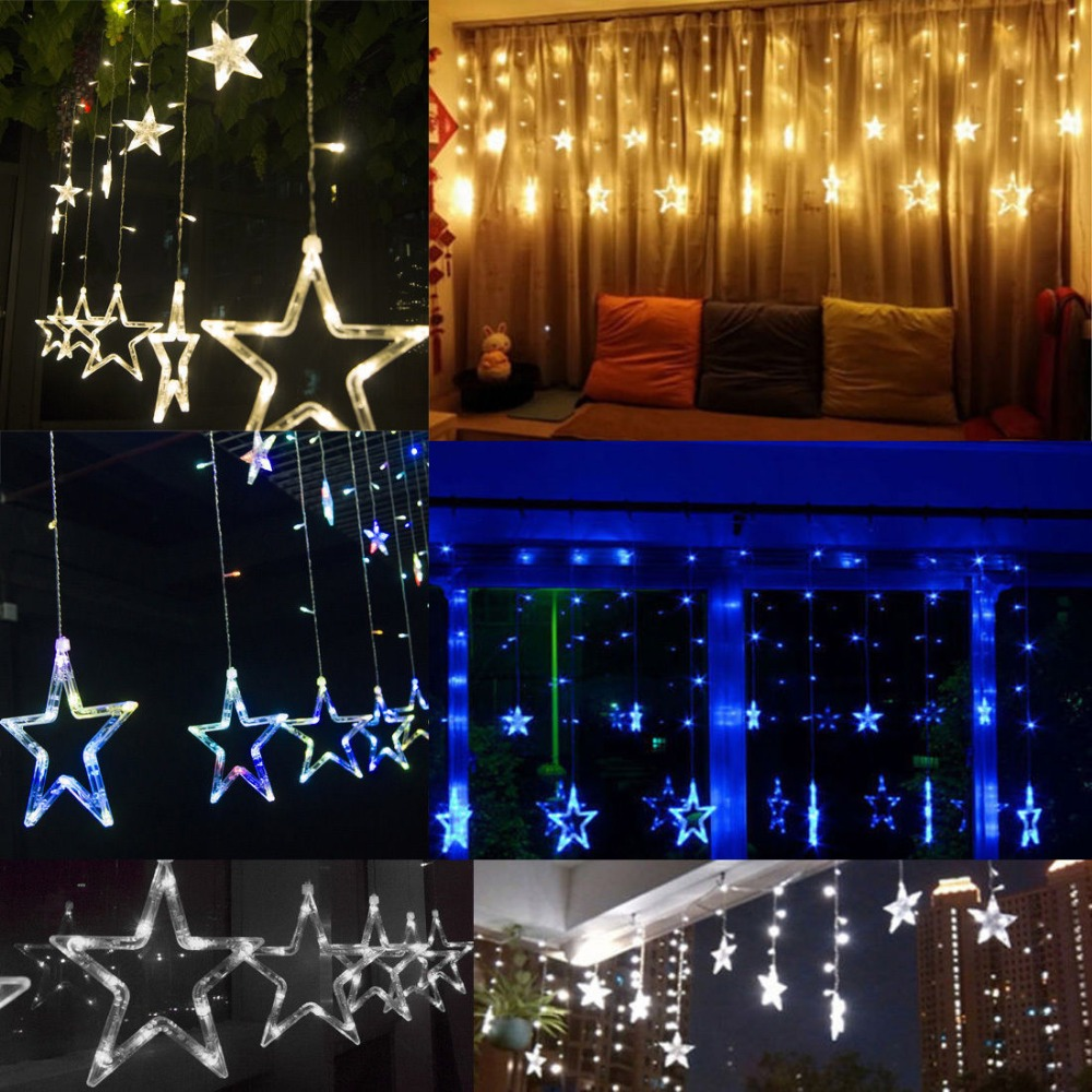 Christmas Lights AC 220V EU/AU/US Romantic Fairy Star LED Curtain String Lighting For Holiday Wedding Garland Party Decoration 12 leds romantic fairy star led curtain string light warm white eu us 220v xmas garland light for wedding party holiday deco