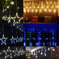Christmas Lights AC 220V EU/AU/US Romantic Fairy Star LED Curtain String Lighting For Holiday Wedding Garland Party Decoration