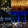 Christmas Lights AC 220V EU Plug Romantic Fairy Star LED Curtain String Lighting For Holiday Wedding