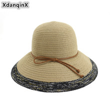 XdanqinX 2019 New Summer Adult Womens Straw Hat Foldable Ladies Sun Oversized Visor Sunscreen Beach Hats For Women