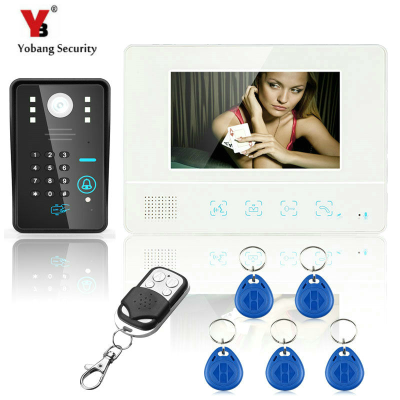YobangSecurity 7Inch Lcd RFID Password Video Door Phone Intercom System Wth IR Camera 1000 TV Line Remote Access Control System