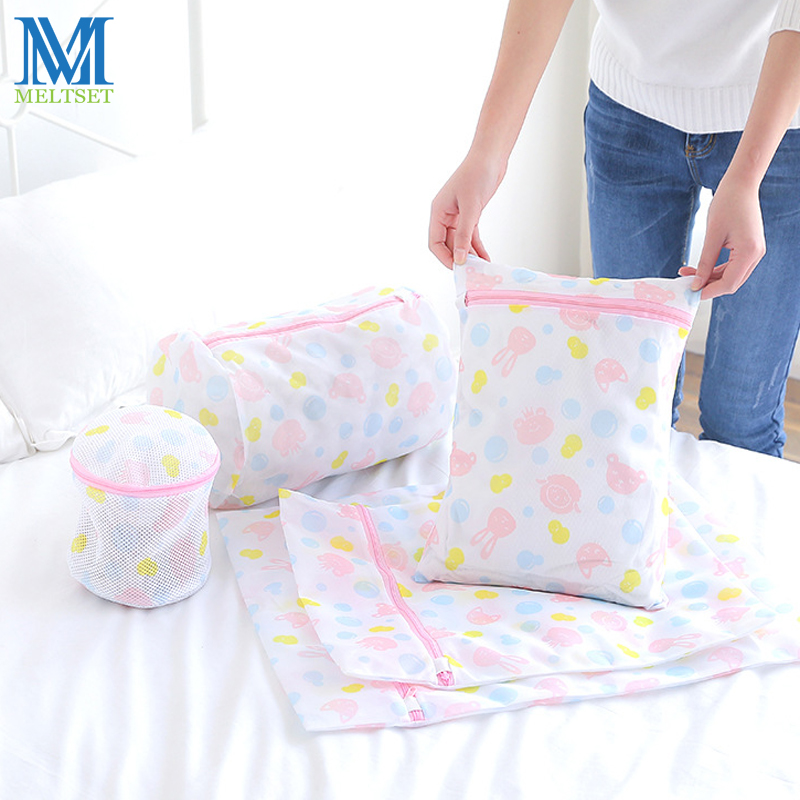 5 Sizes Zippered Nylon Laundry Bags Thickened Mesh Net Bag Washing Machine Protection Net Mesh Bags Lingerie Socks Washing Bag