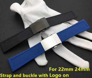 Brand Watchband Silicone Rubber Black Blue 22mm 24mm Bracelet For Navitimer/Avenger/Breitling Strap Watch Band Free Tool