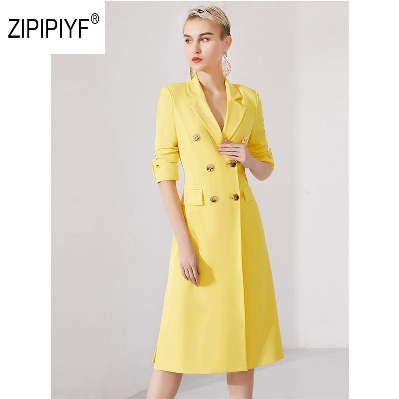 원래 zipipiyf 2019 봄 여성의 새로운 절반 ruched 슬리브 ol 파티 드레스 더블 브레스트 vestidos 드 oficina elegantes ab275-에서드레스부터 여성 의류 의  그룹 1