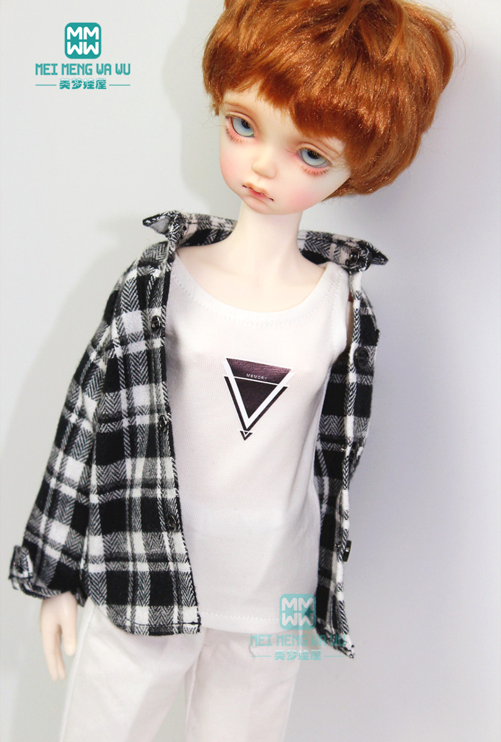 BJD Accessories Doll Clothes For 1/4 BJD YOSD Doll Fashion Vest, Plaid Shirt