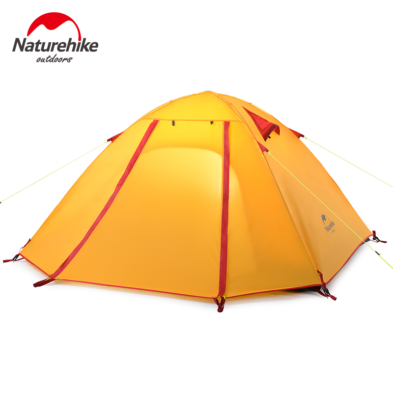 Brand NatureHike factory sell Double Layer 3 Person 210cm x165cmx115cm Outdoor Waterproof Double Layer windproof camping tent flytop high quality 3 person double layer rainproof windproof outdoor camping tent with snow skirt 210 50 180 50 115 cm