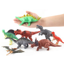 8Pcs DIY Big Dinosaurs Figures Simulation Animal World Model Set Soft Plastic Colorful Creative Decoration Toys For Children Kid(China)