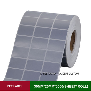 PET thermal transfer custom stickers 30*25mm 5000 sheets papel autocolante for anti-counterfeit labels of electronic product