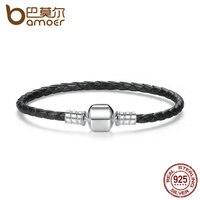 BAMOER Popular 925 Sterling Silver Genuine Leather Bracelets With Snake Chain Unisex DIY Bracelet Fine Jewelry