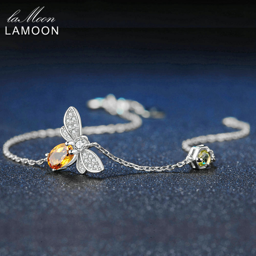 LAMOON Chain Jewelry Charm Bracelet S925 Citrine Gold-Plated 925-Sterling-Silver 100%Natural
