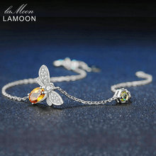 LAMOON Love Bee 925 Sterling Silver Bracelet Woman Citrine G
