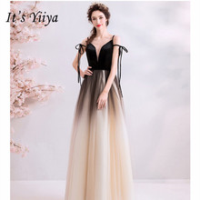 Its YiiYa Evening Dress A line Gradient Black Color Bow Party Dresses Sexy Spaghetti Strap V-neck Long Wedding Prom Gowns E147