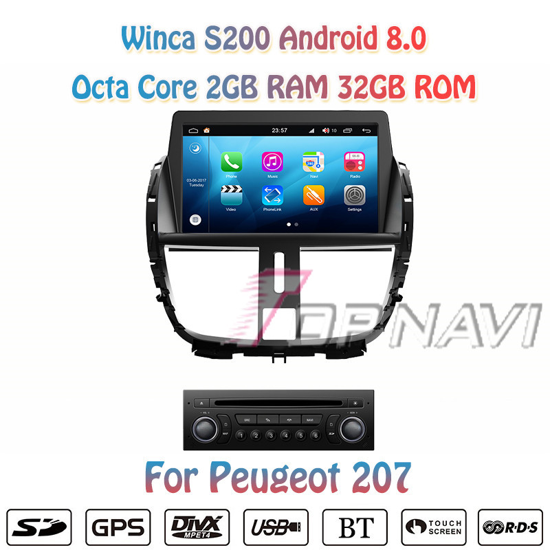 Topnavi 7 Octa Core S200 Android 8.0 Car DVD Multimedia Auto Player for Peugeot 207 Audio Radio Stereo Two DIN GPS Navigation
