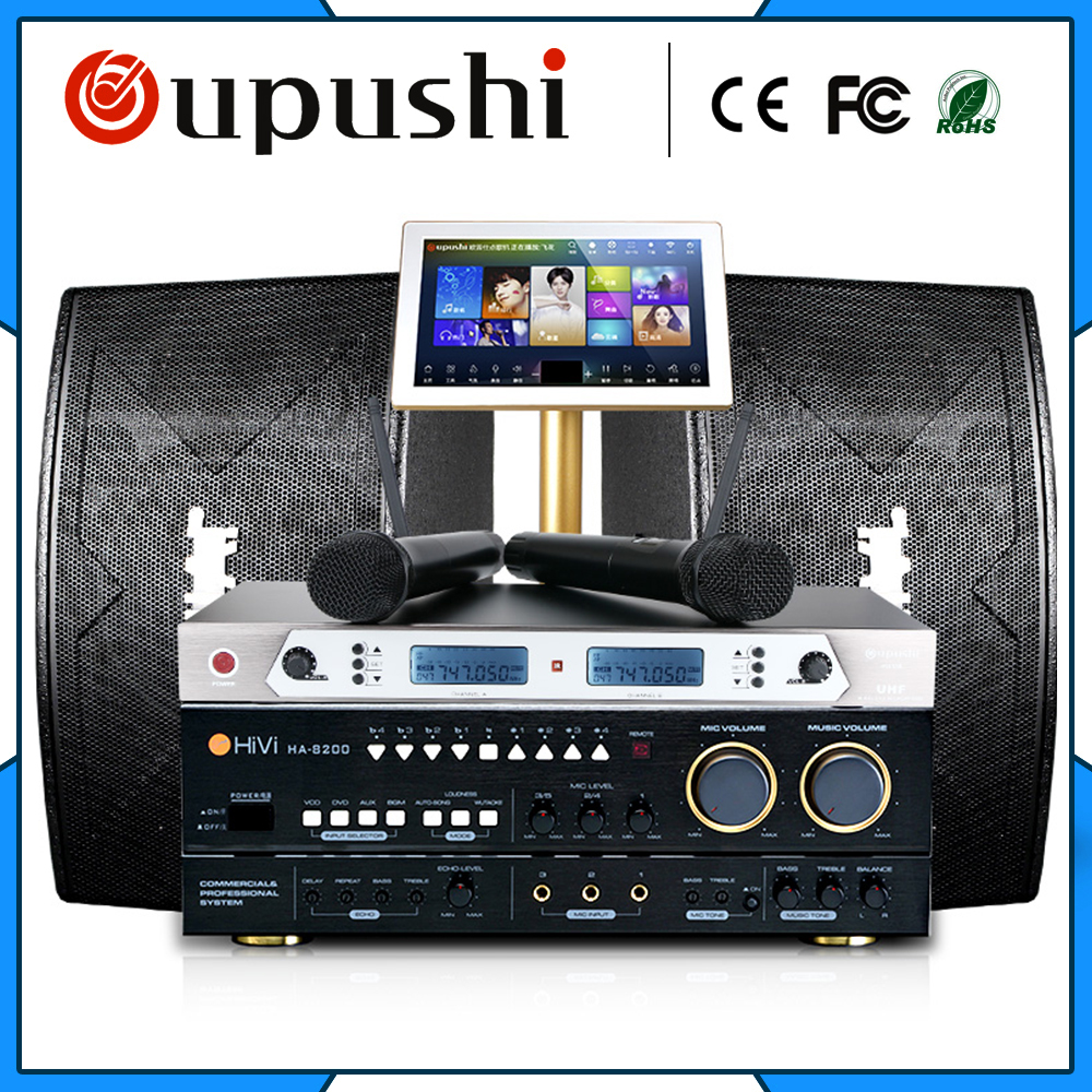 Family Karaoke Party ktv  player system + 2T+ 19  touch screen w / song +  power amplifier +speaker/audio/Sound/horn+micphone 2017 hot bluetooth multi function audio intelligent family host background music system lcd screen touch light dimmer 2 speakers