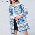 2016 Outono e inverno As Mulheres Trench Coat Roupas Femininas Moda Mulheres da Cópia Floral Longo Trench Coat Tamanho S M L