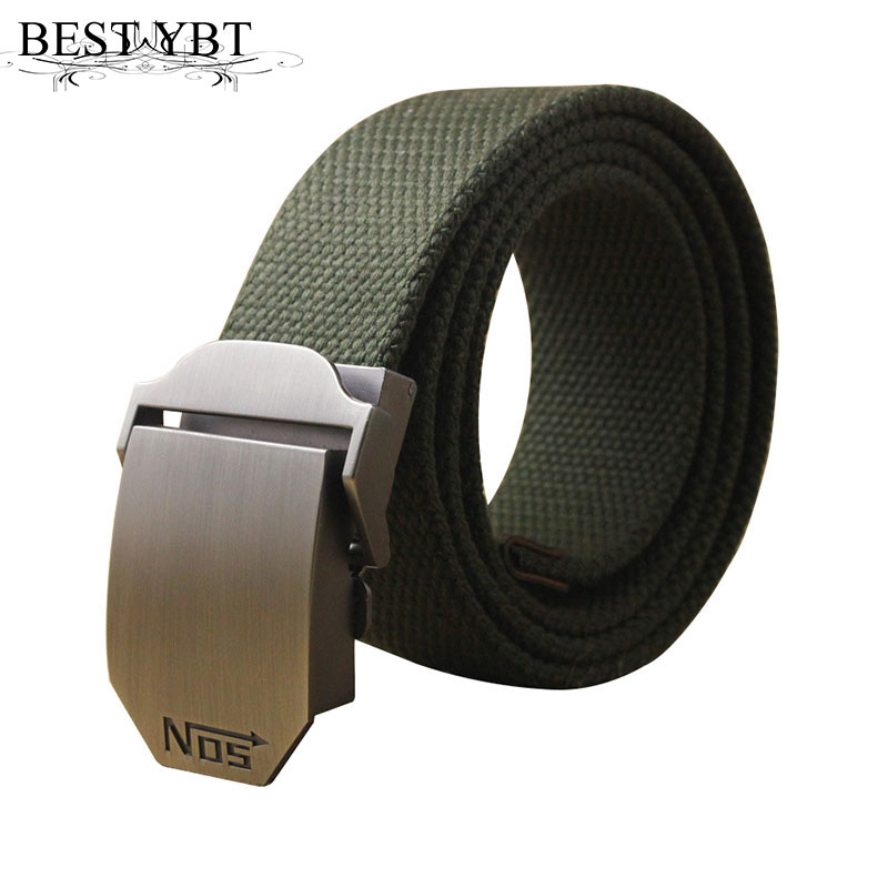 Best YBT Hot male tactical belt Top quality 4 mm thick 3.8 cm wide casual canvas belt Outdoor For men  Automatic buckle Belt(China)