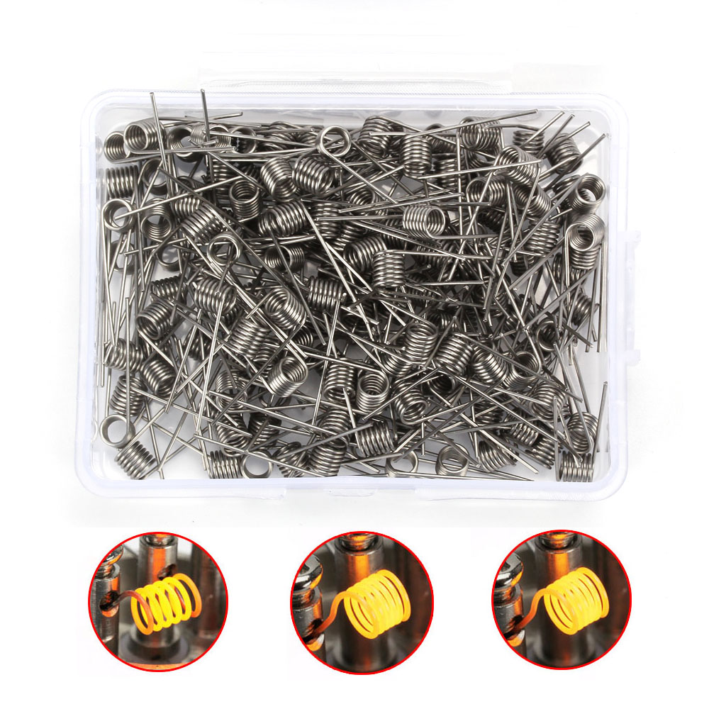 Coil Father 100 Pcs Prebuilt Coil Ni80 SS316L  22 24 26 28 Pre-Made Coils Vape DIY RDA Coil Alien Clapton Heating Wire For Ecigs