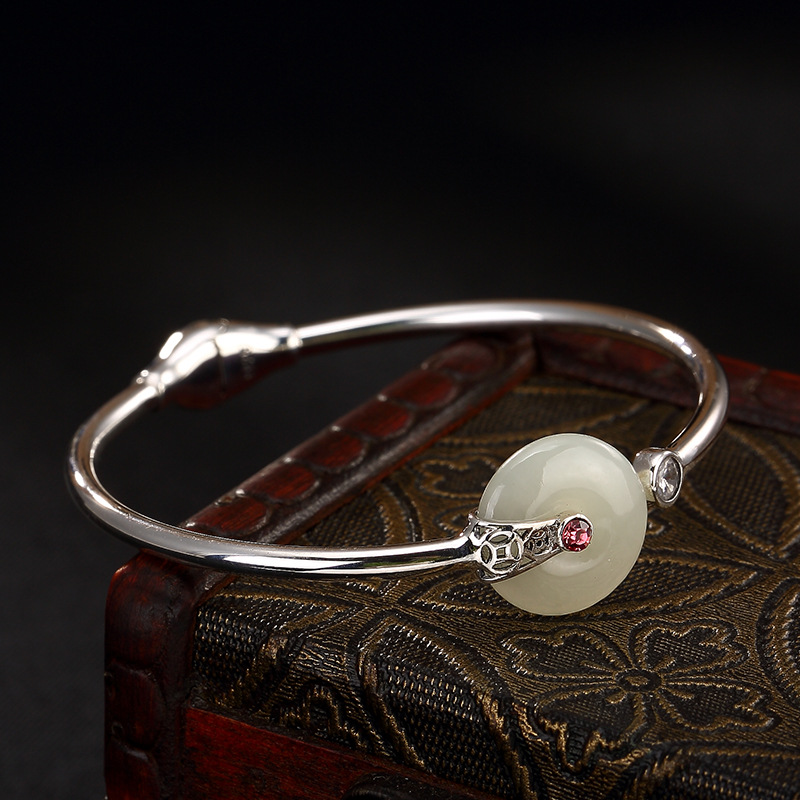 Real 925 Sterling Silver Cuff Bangle With Jade Peace Buckle Natural Gemstone Bracelets Bangles Shifting Lucky