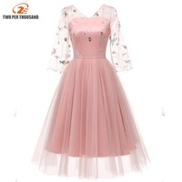 Christmas Embroidered Mesh Pink Dress Vintage Retro 2/3 Sleeve Women Ball Gown Midi Dresses Backless Robe Elegant Dress