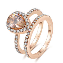 Vienkim Fashion 2PC Rose Gold Deluxe Zircon Ring Set for Women Girls Trend Engagement Ring Bohemian Crystal Zircon Jewelry Gifts(China)
