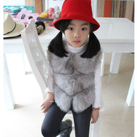 New Children's Real Fox Fur Vest Baby Girls Autumn Winter Warm Short Fox Fur Clothing Vest Kids Solid O Neck Vests Coat V#16