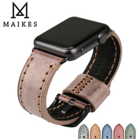 MAIKES Fashion Green Bridle Cow Leather Watchband Watch Accessories For Apple Watch Strap 38mm Iwatch Apple