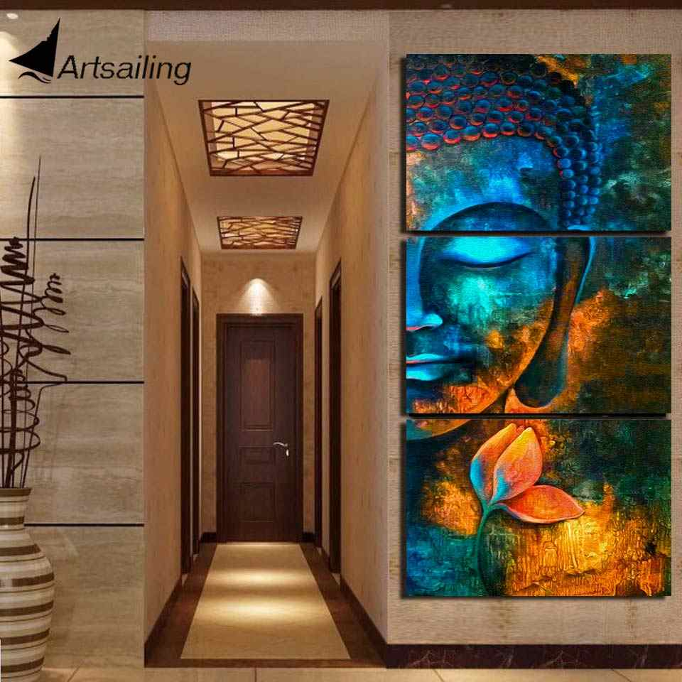 HD printed 3 piece canvas art Abstract Buddha painting Modern home decor Wall Art Picture For Living Room canvas print NY-7609C