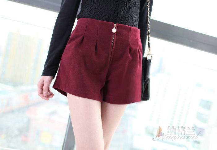 Frauen Frühlingsmodelle Frauen Woll Shorts Perle Reißverschluss - Damenbekleidung - Foto 2