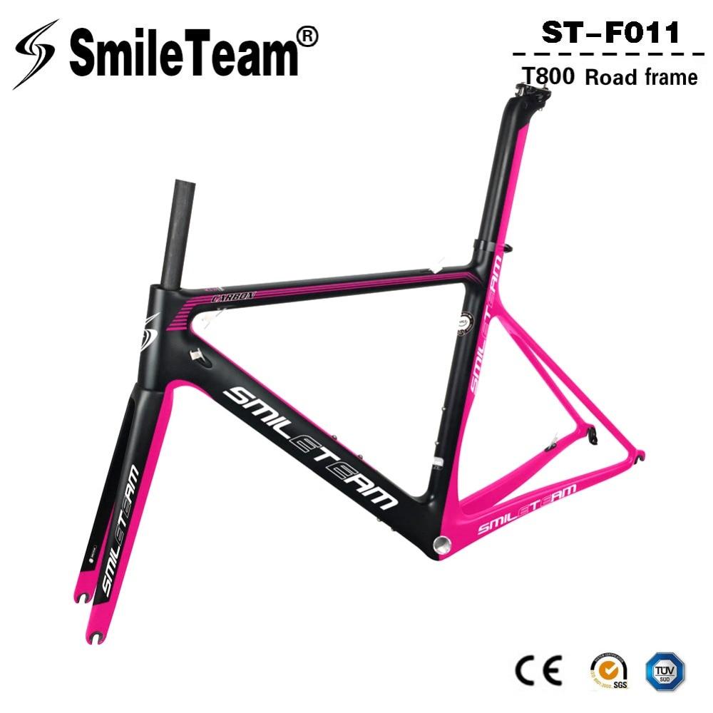 Smileteam Carbon Road Bike Frame 2018 New Super Light Carbon Di2 And Mechanical Racing Bicycle Frameset Size 49/51/54/56/58cm smileteam 2018 new carbon fiber road bike frame di2