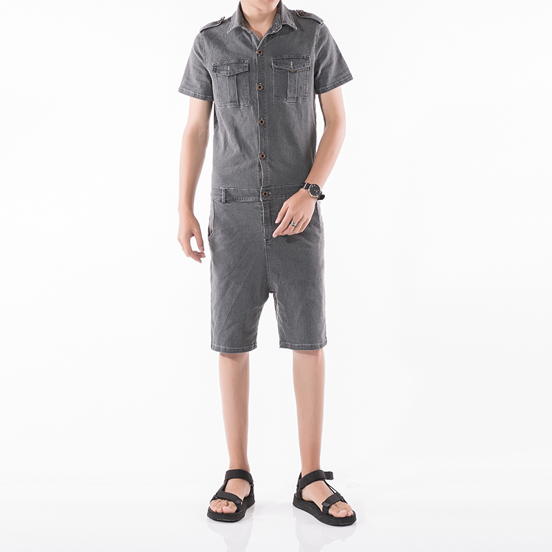 Men jeans Jumpsuit Fashion casual Short Sleeve Denim Overalls knee length Jumpsuit Male  ...