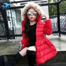 M & F 2016 зимой толстые разделе длинный пуховик девушки плюшевые бархатные детская мода хлопка-проложенный куртка