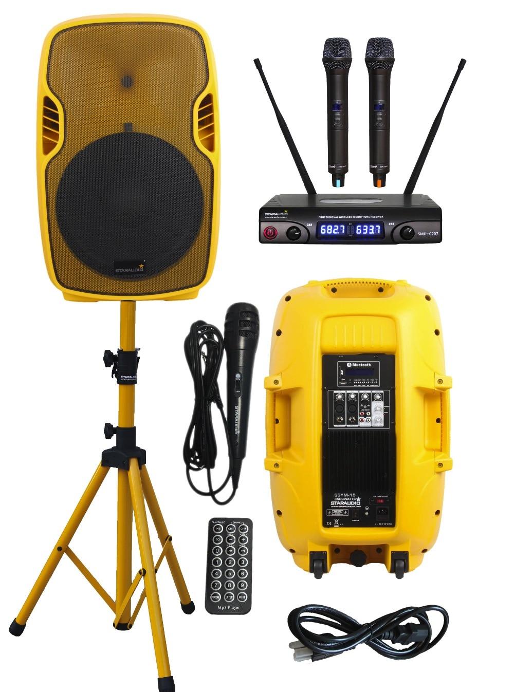 STARAUDIO 15 3500W Powered Active PA DJ Stage Karaoke USB SD FM BT Yellow Speaker W/ Stand 2CH UHF Microphones SSYM-15