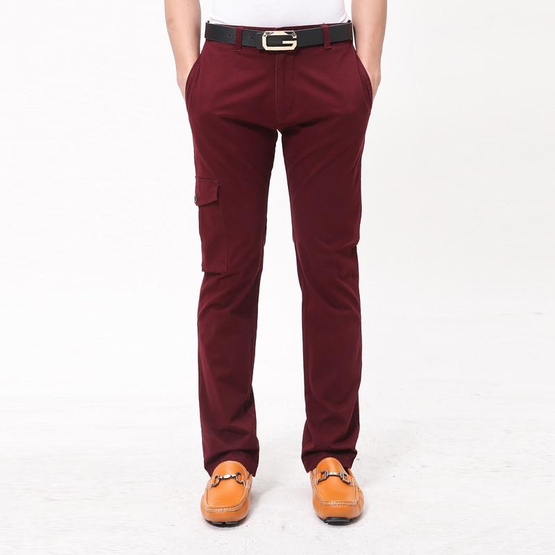 72a38a046a Mogan Paul 2017 de los hombres pantalones de moda Casual de algodón rojo de vino  pantalones de Diseñador de marca de alta calidad de diseño de bolsillo ...