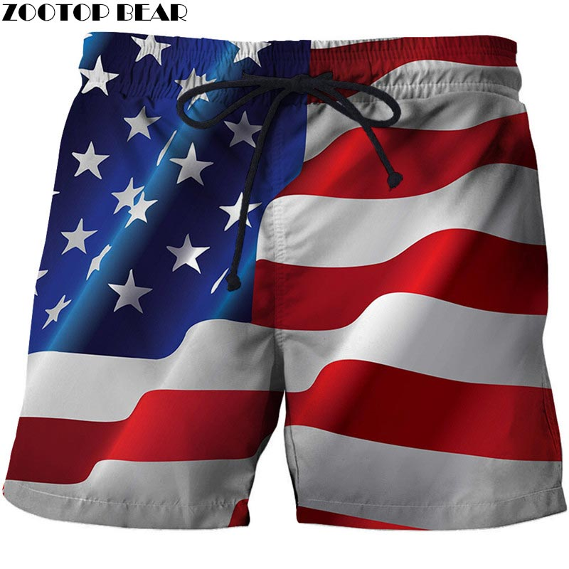 Flag Printed USA Beach Shorts Men Casual Board Shorts Plage Vacation Quick Dry Shorts Swimwear Streetwear DropShip ZOOTOP BEAR