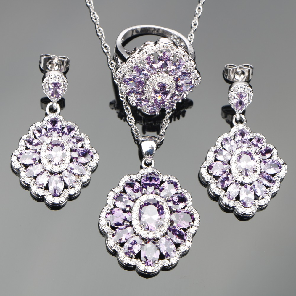 Silver 925 Wedding Costume Jewelry Sets Women Purple Zircon Pendant Necklace Earrings Rings With Stones Set Jewelery Gift Box