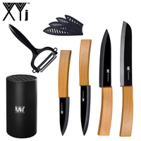 Bamboo Handle Black Kitchen Knife XYj 3 4 5 6 Serrated Bread Ceramic Knife High Grade