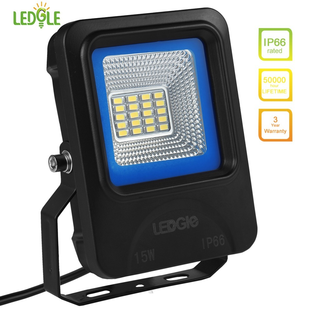 LEDGLE 15W LED Flood Lights Outdoor Floodlights Waterproof LED Wall Washer Daylight White Efficient LED Chip IP66 Waterproof