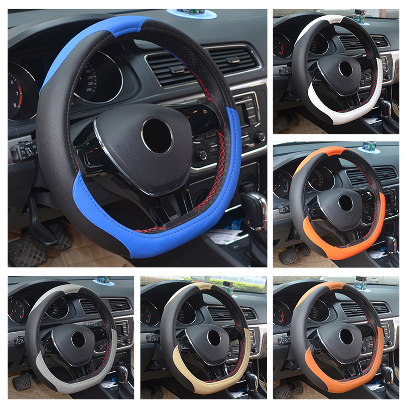 Leather D Ring Steering Wheel Cover Racing Sport Universal Fit 38cm for Volkswagen VW Golf 7 Mk7 Lavida New Polo Jetta Passat B8