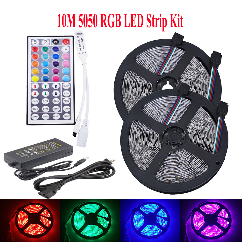 RGB LED Strip 10m 5m Led Light Tape 5050 Ribbon Waterproof RGB Strip diode DC12V LED Adapter 44Key IR Remote Controller
