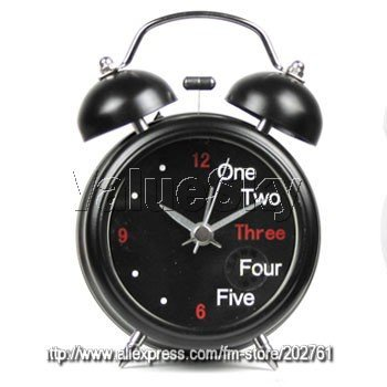 110701A-High quality classical double bell alarm clock night light noiseless movement best home supplies Free Shipping