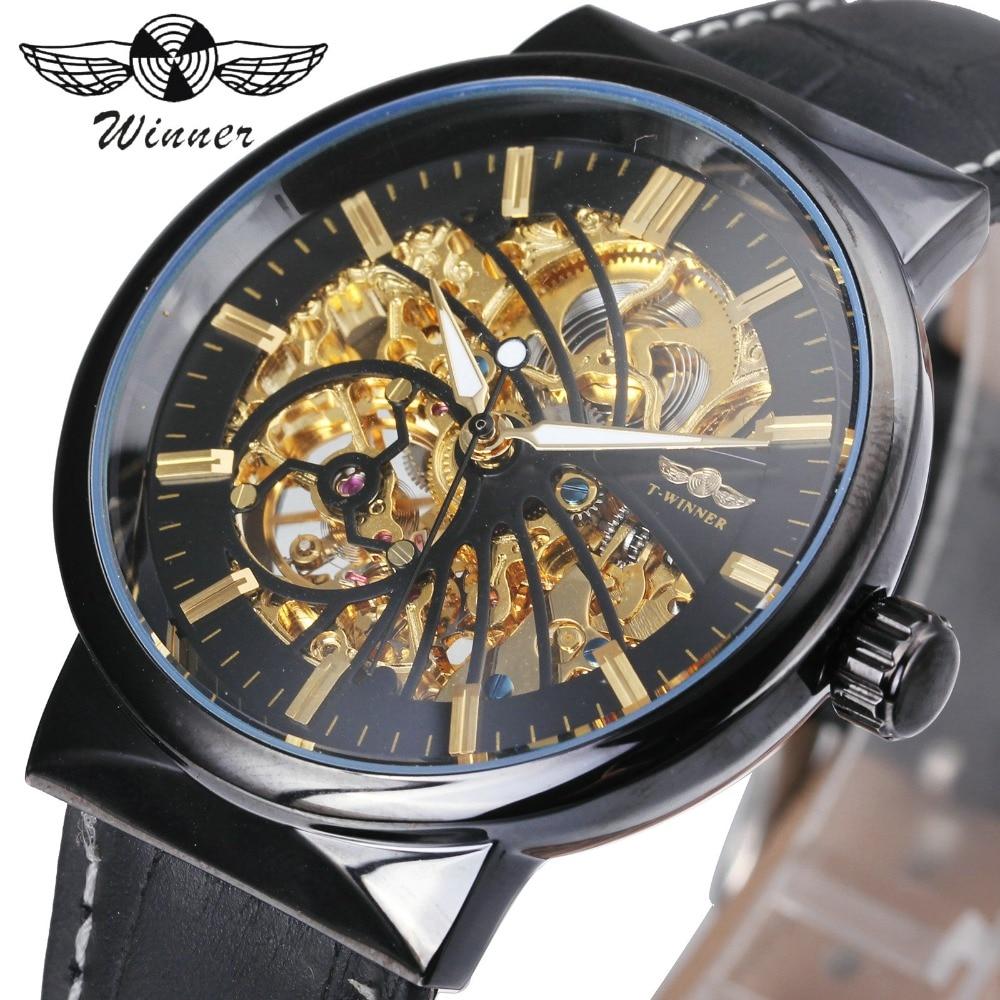 где купить WINNER Fashion Royal Watch Men Auto Mechanical Watches Golden Skeleton Dial Bird Patter Leather Strap Carved movement Wristwatch по лучшей цене
